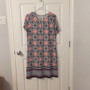Navy and coral dress
